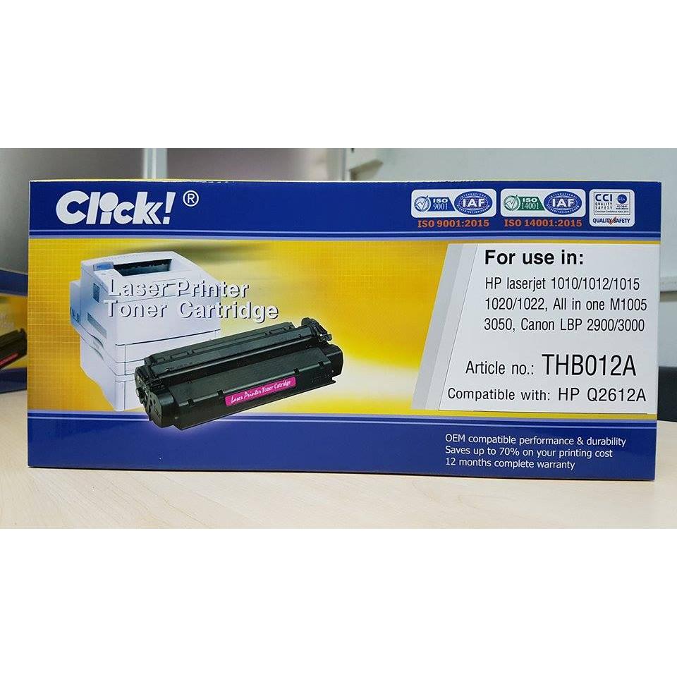 Hộp mực máy in Click dành cho HP 12A (Q2612A) - Hàng Chính Hãng