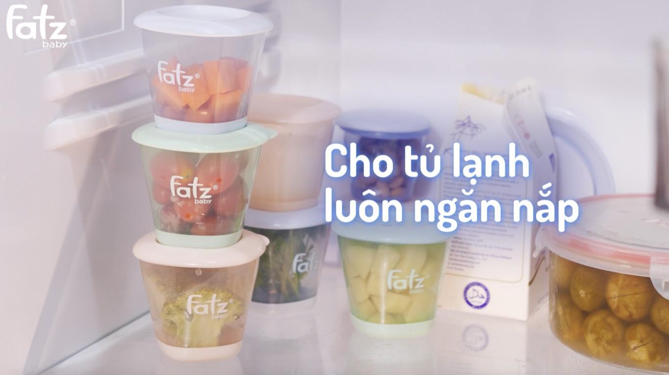 Bộ 3 hộp trữ đồ ăn dặm 150ml fatzbaby kèm cốc uống nước/sữa có nắp 300ml