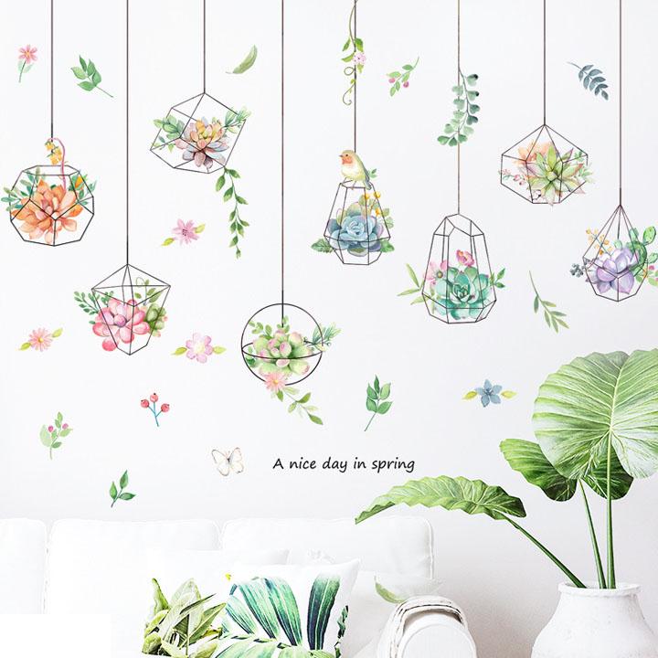 Decal dán tường trang trí phòng khách, quán cafe- Vòng hoa sắc màu- mã sp DLV64