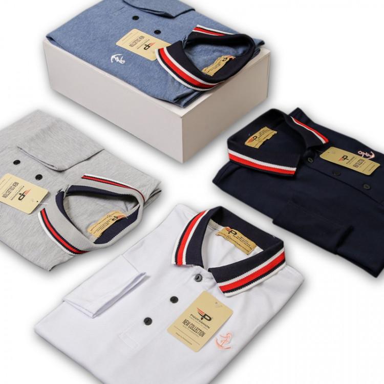 Áo thun nam cổ bẻ phối bo dài tay chuẩn phong cách PIGO PG17 - xanh vịt 3