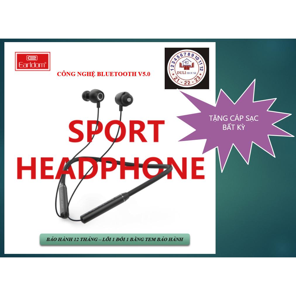 EARLDOM Tai nghe thể thao Bluetooth V5.0 có dây tiện lợi, thời gian sử dụng lâu, bền đẹp CHÍNH HÃNG - Tặng 01 cáp sạc bất kỳ - Hàng Chính Hãng
