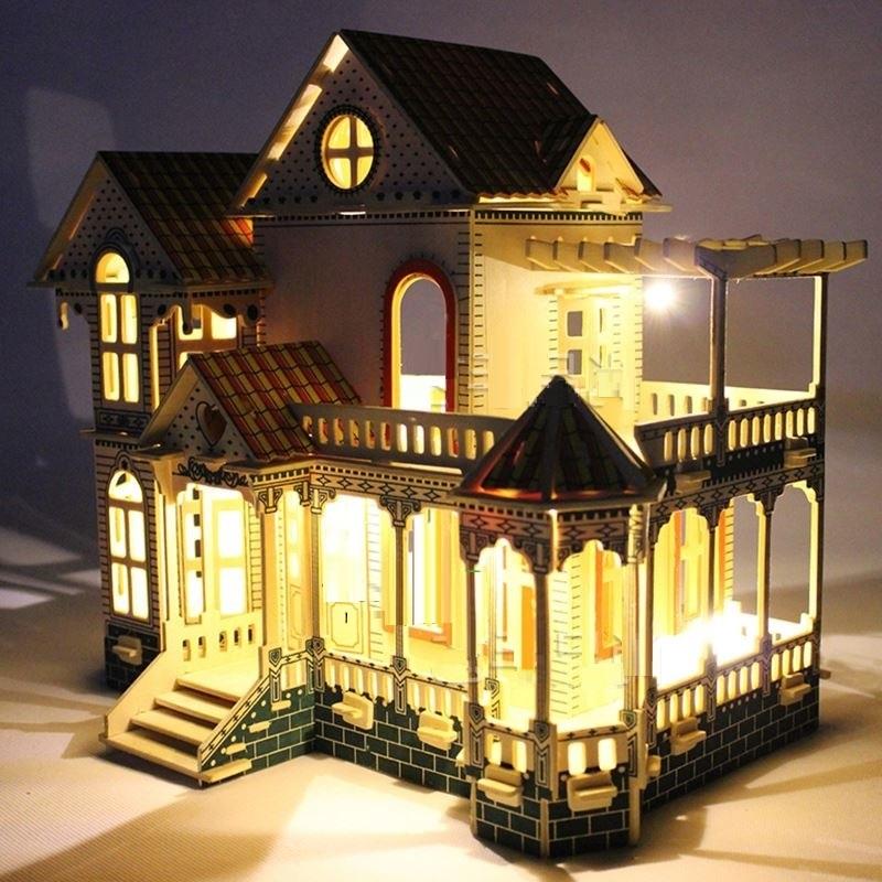 Mô hình biệt thự Villa Xia Weiyi - Tặng kèm đèn LED trang trí