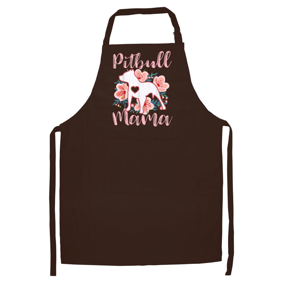 Tạp Dề Làm Bếp In Hình Pitbull Mama Pink Flowers Pittie Mom Cute Mommy Gift
