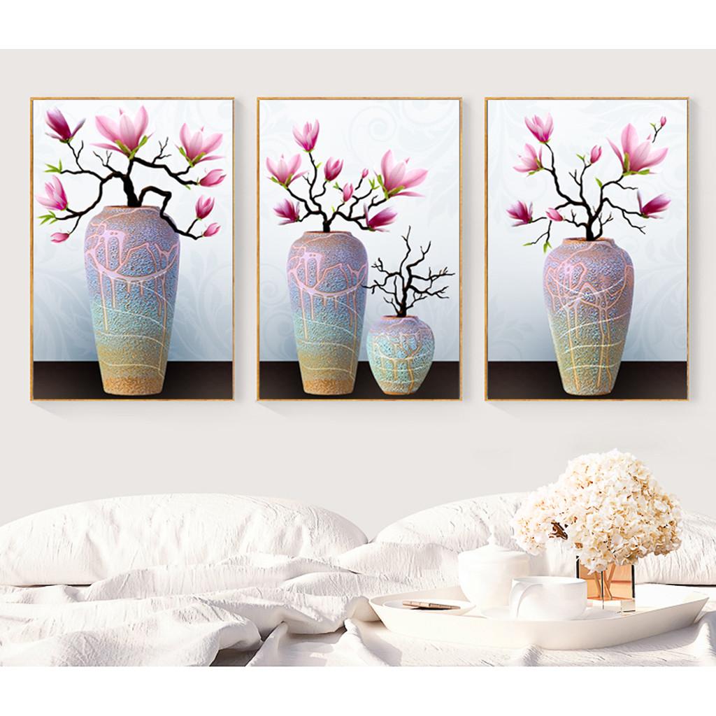 Decal trang trí tường bộ 3 bình hoa nghệ thuật Tipo_0246