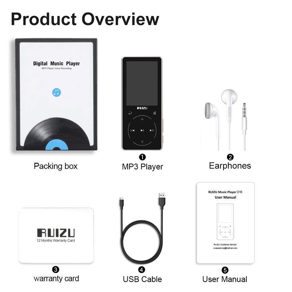 Ruizu D16 - Máy nghe nhạc Lossless, màn hính lớn 2.4 icnh, Bluetooth 4.1 - Hàng Chính Hãng