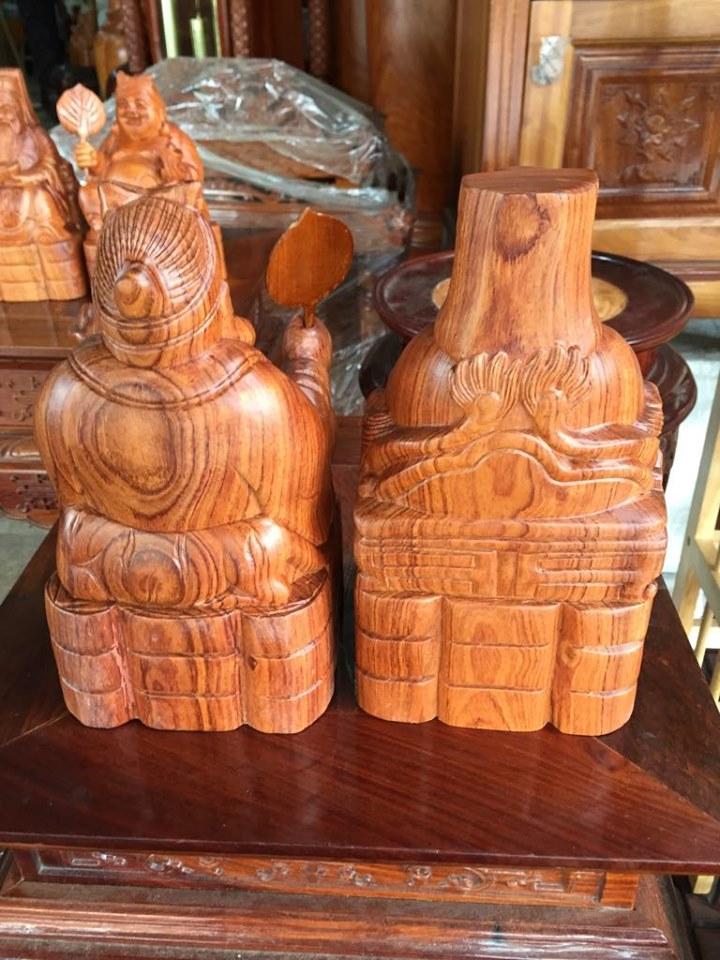 Thần tài thổ địa gỗ hương cao 20cm, thích hợp thờ cúng bàn thờ thần tài thổ địa