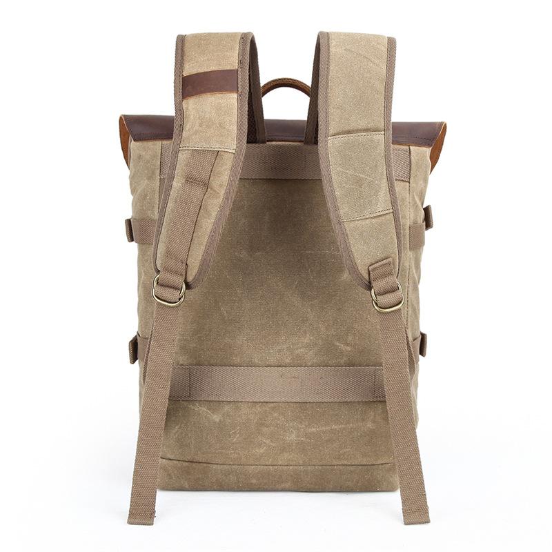 Balo Canvas chống nước nắp da bò Pretty boy backpack size