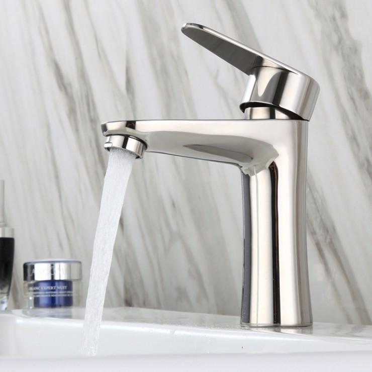 Vòi lavabo nóng lạnh mạ crome inox 304, vòi chậu rửa mặt nóng lạnh, vòi lavabo nóng lạnh inox 304 dùng cho bồn rửa mặt nhà tắm, vòi nước nóng lạnh VC19 - tặng kèm bộ dây cấp nước nóng lạnh