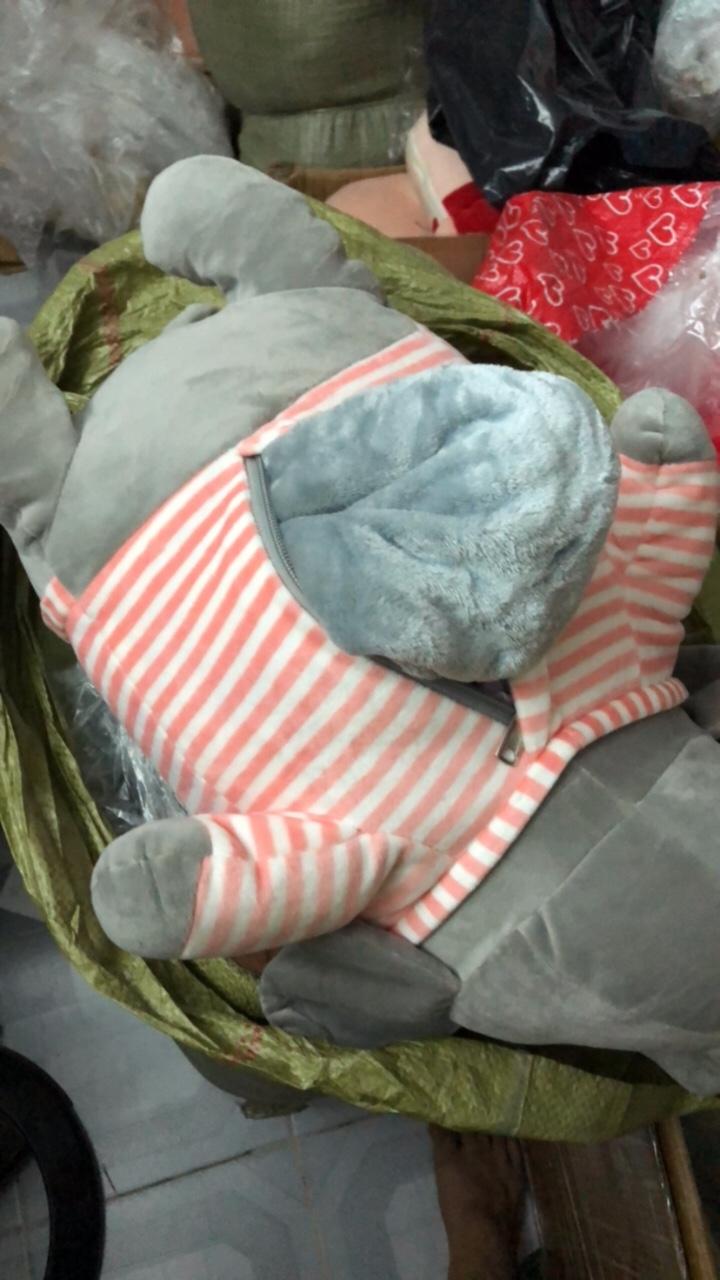 Gối mền Voi Lười Ngủ chức năng 3 trong 1, chăn gối gấu bông ngủ trưa văn phòng (giao màu ngẫu nhiên)