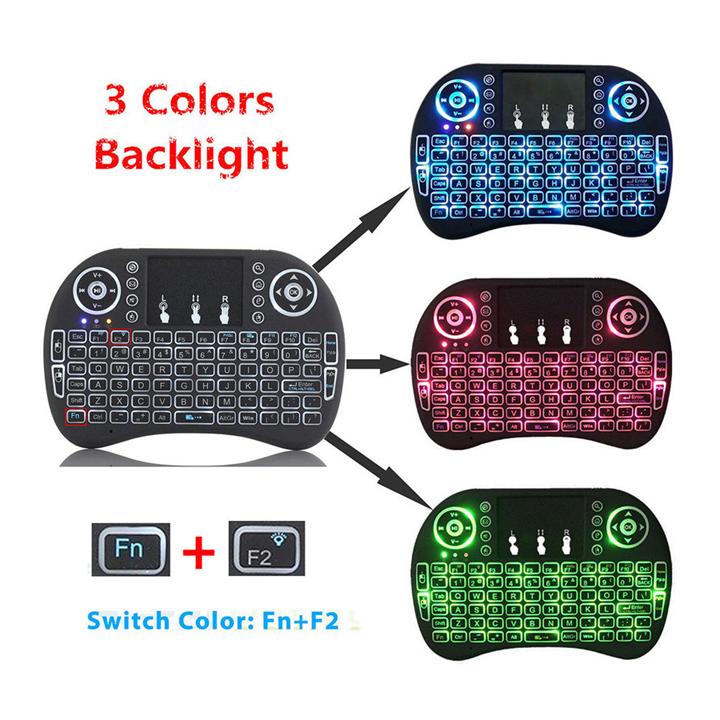 Bàn phím kiêm chuột không dây mini cho tivi box, smart tivi UKB-500RF có đèn led (màu ngẫu nhiên)
