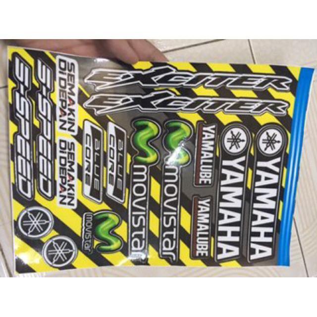 Tem dành cho xe Exciter 11 phiên bản Mx xanh vàng và 1 sét tem (bộ)