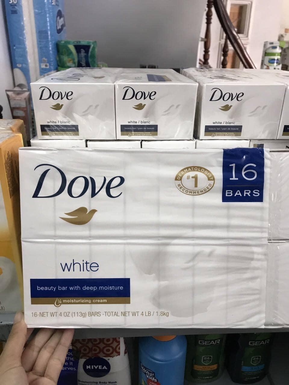 16 Bánh Xà phòng cục Dove Mỹ White Beauty 106g dưỡng trắng da