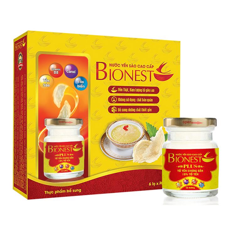 Hộp Yến sào Bionest Plus 15% cao cấp - hộp 6 lọ
