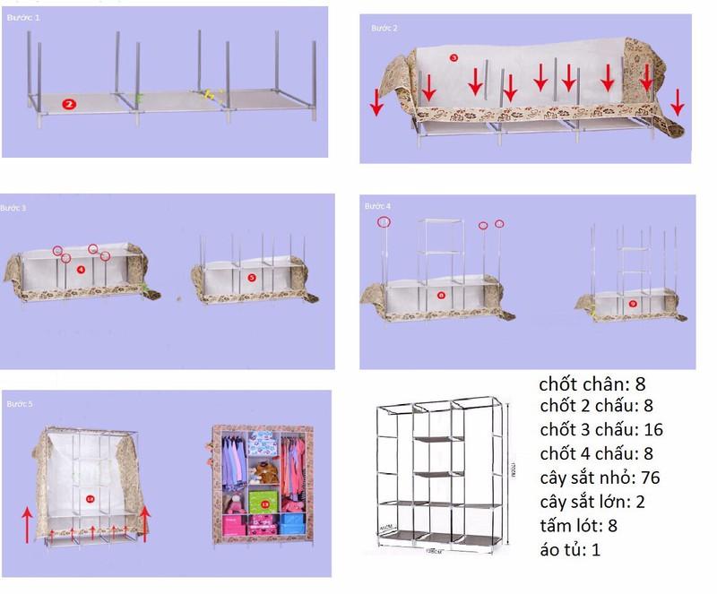 Tủ Vải Quần Áo 3 Buồng 8 Ngăn Cao Cấp, To, Bền  Kèm Dụng Cụ Lấy Ráy Tai Có Đèn