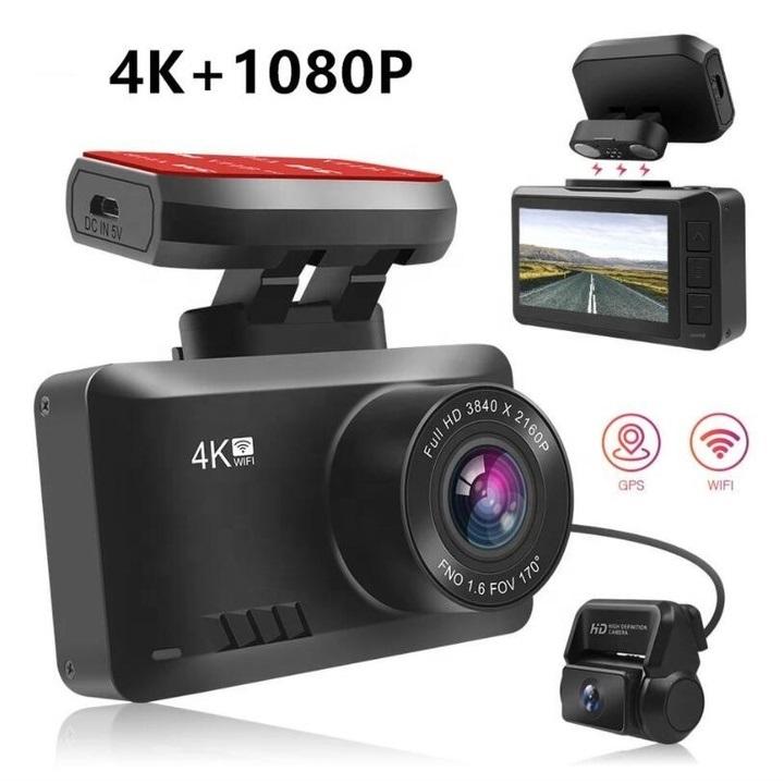 Camera hành trình ô tô độ phân giải 4K (3840*2160P), Wifi, 2.45 inch - Camera trước: 2160P, góc quay 170° - Camera sau: 1080P