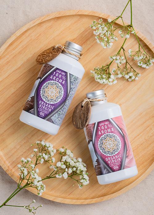 Dầu Dừa Hữu Cơ Tự Nhiên Aroma Organic Virgin Coconut Body Oil - Hương Hoa Hồng