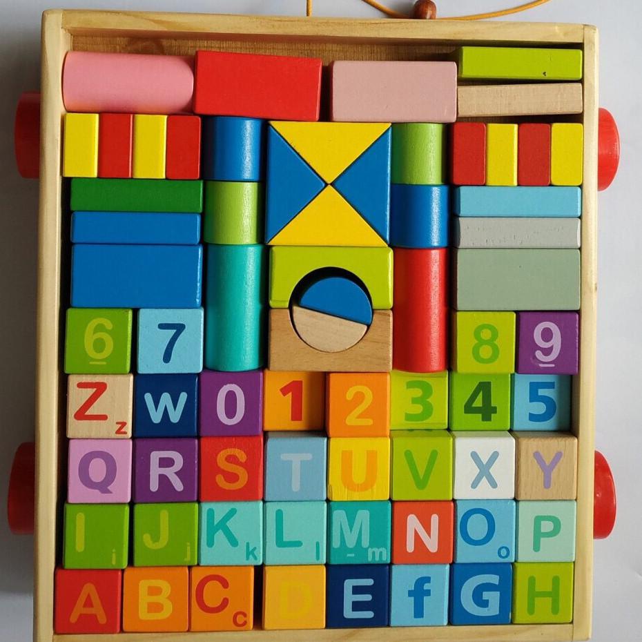 Bộ xếp hình xây dựng 70 chi tiết MK_ đồ chơi gỗ