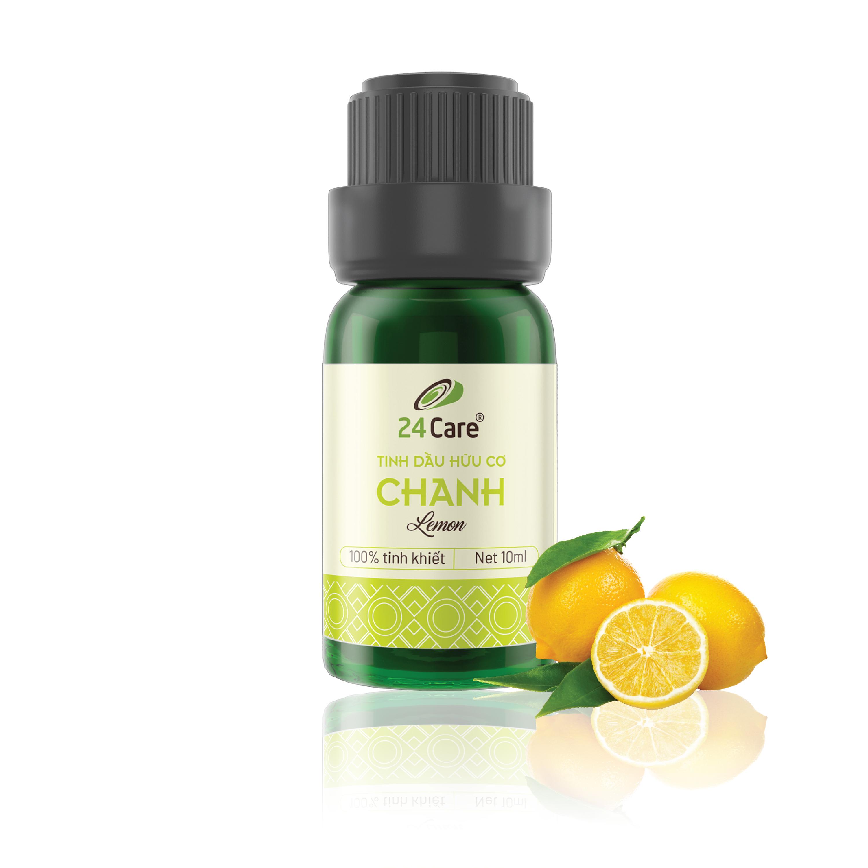 Tinh dầu Chanh nguyên chất 24Care 10ML - Chiết xuất thiên nhiên, kháng khuẩn, thơm mát, dễ chịu.