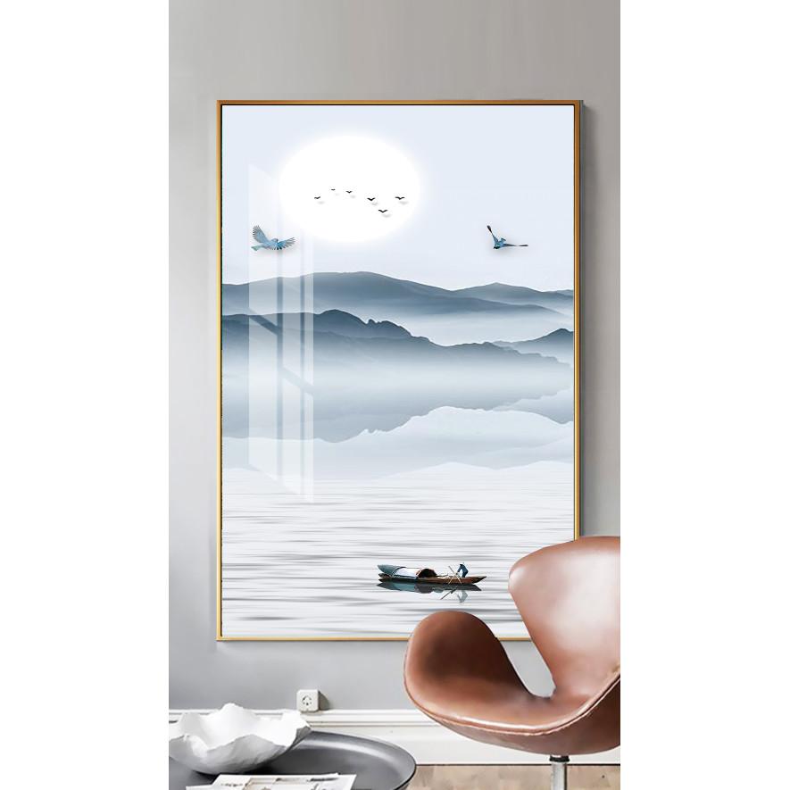 Tranh treo tường phòng khách, phòng ngủ -Tranh treo 1 tấm dọc M26596/ Gỗ MDF cao cấp phủ kim sa/ Chống ẩm mốc, mối mọt/Bo viền góc tròn