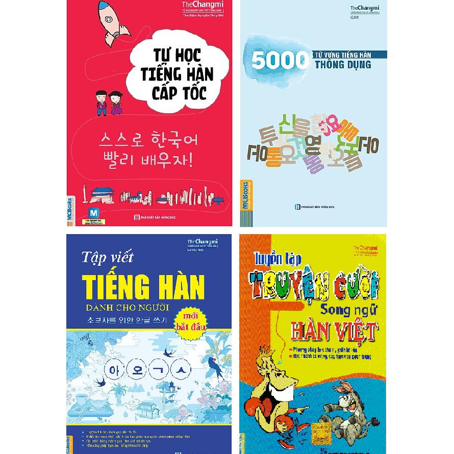 Com bo 4 quyển Sách tự học tiếng hàn cấp tốc 5000 từ vựng tiếng hàn thông dụng Vở tập viết tiếng hàn dành cho người mới bắt đầu  Tuyển tập truyện cười song ngữ Hàn Việt