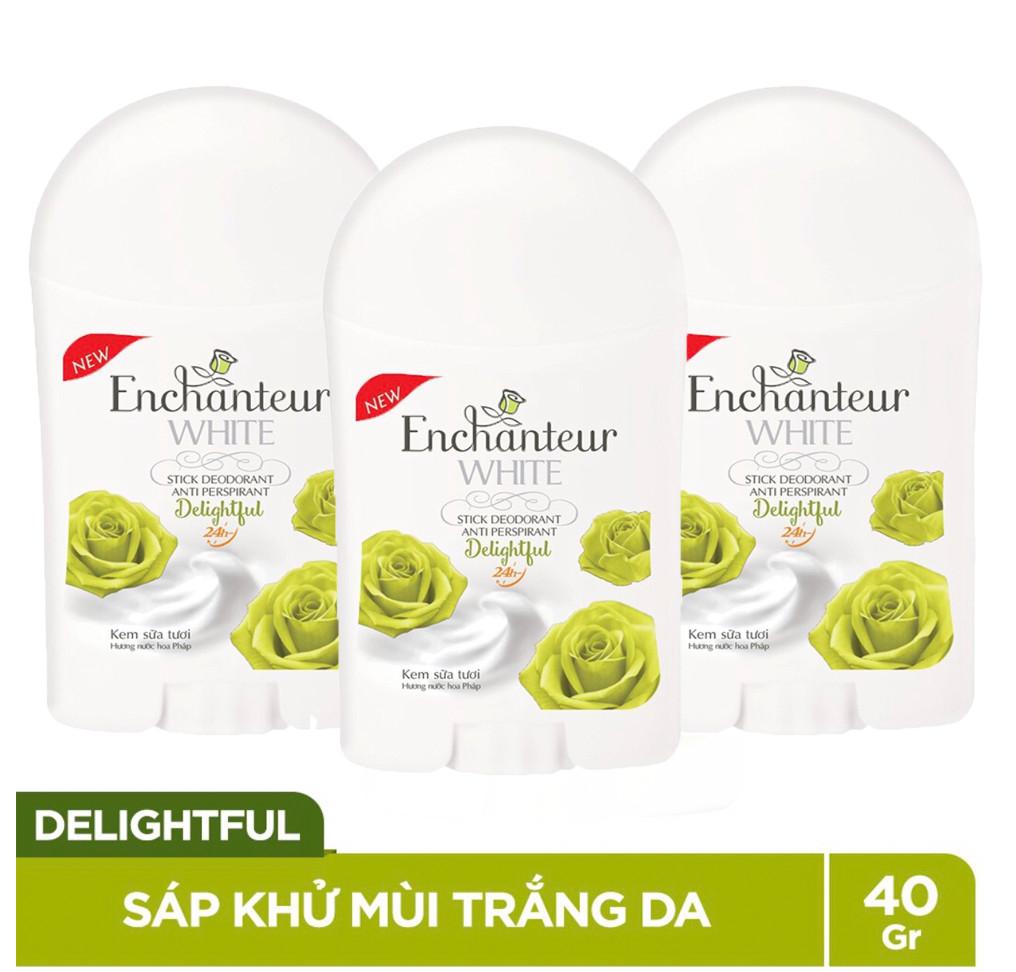 Bộ 3 Sáp khử mùi trắng da Enchanteur Delightful 40g*3