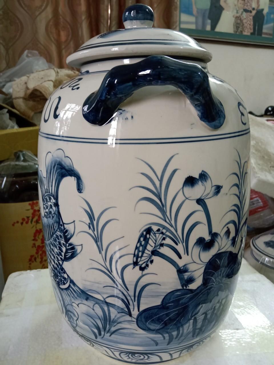 Hũ đựng gạo gốm sứ Bát Tràng vẽ cá chép loại 15L