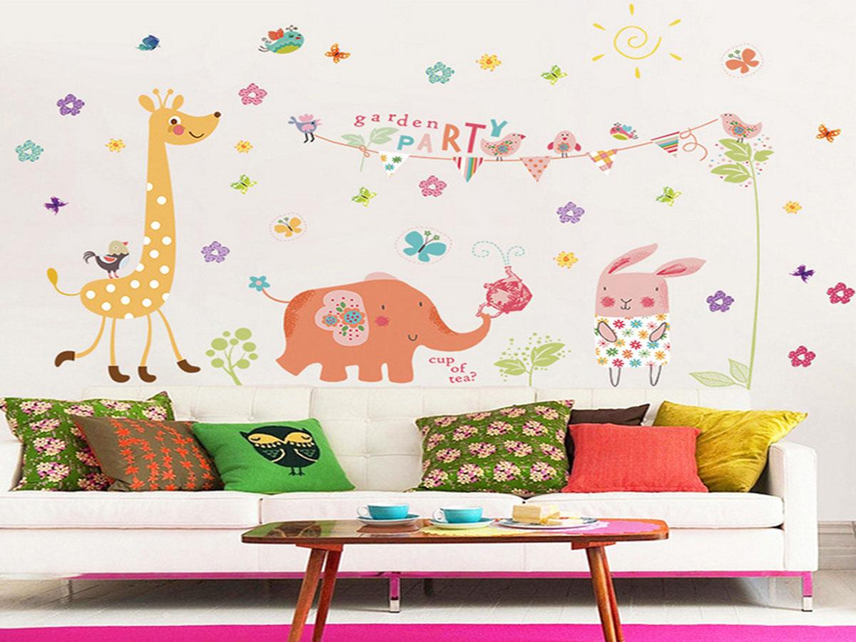 Decal dán tường voi hồng ngộ nghĩnh xl8257
