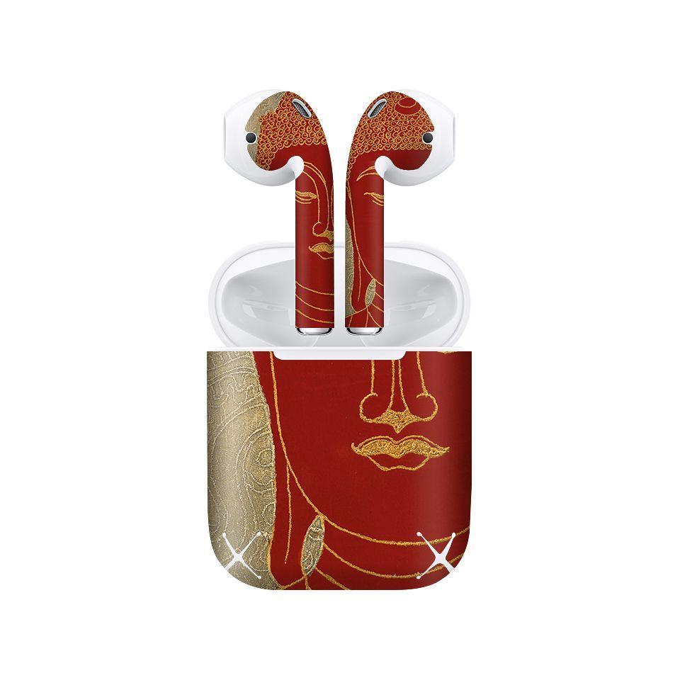 Miếng dán skin chống bẩn cho tai nghe AirPods in hình Đức Phật Việt Nam Đỏ - lsm016 (bản không dây 1 và 2)