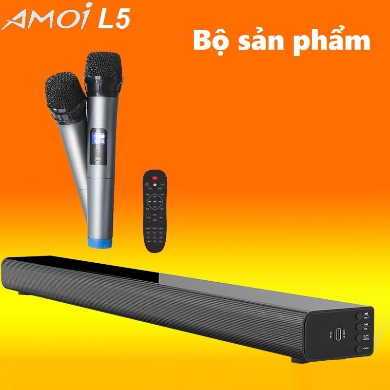 Loa thanh 5.1 nghe nhạc kết nối Bluetooth Amoi L5 Kèm 2 Micro karaoke không dây - Hàng nhập khẩu