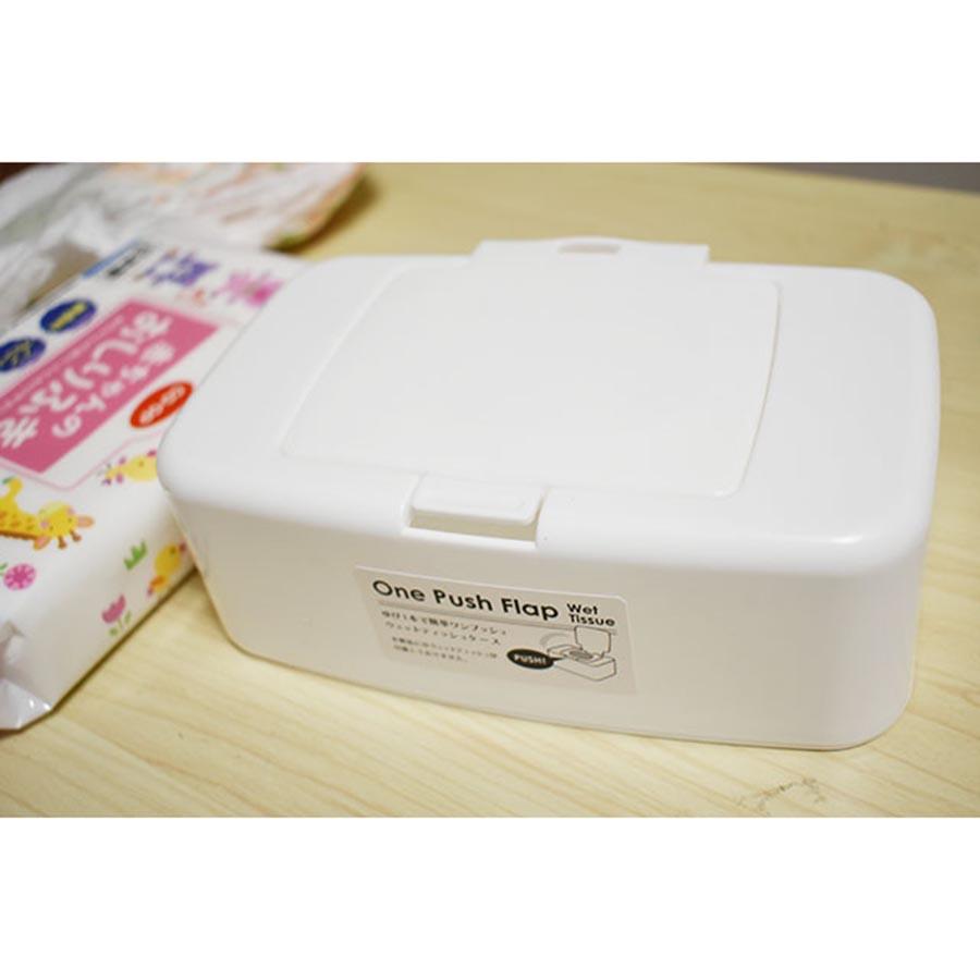 Hộp nhựa trắng đựng khăn giấy ướt có nắp tiện lợi - Hàng nội địa Nhật