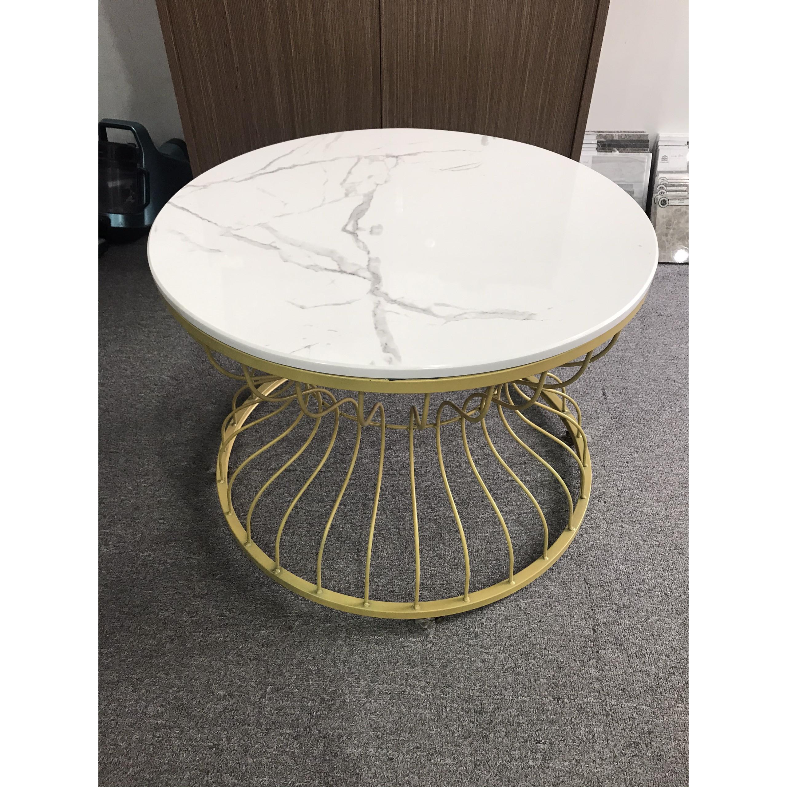 Bàn sofa, bàn cafe, bàn trà chân sắt sơn tĩnh điện và mặt đá vân mây SDN_MH02
