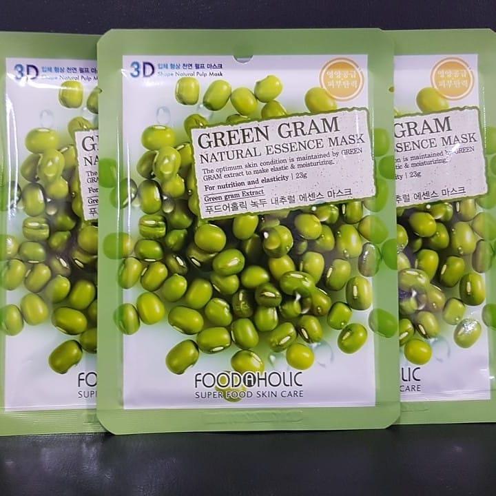 Bộ 10 Gói Mặt Nạ Nuôi Dưỡng Da 3D Foodaholic Green Gram Natural Essence Mask  23ml x10 - Mặt nạ giấy Nhãn hiệu FOODAHOLIC | MuaDoTot.com