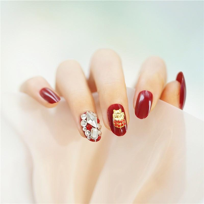 Set 24 móng tay giả , nail giả đính đá sơn gel màu đỏ đô rất sang chảnh và cá tính ( kèm keo ) DH