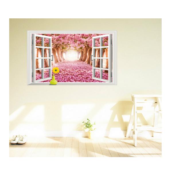 Decal Dán Tường Cửa Sổ Vườn Hoa Đào PK251 (60 x 90 cm)