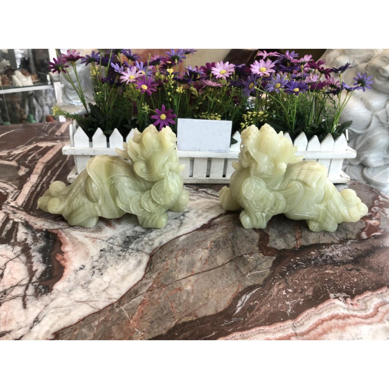 Cặp Tỳ Hưu ngậm xâu tiền phong thủy cầu tài lộc đá ngọc Onyx - Dài 20 cm