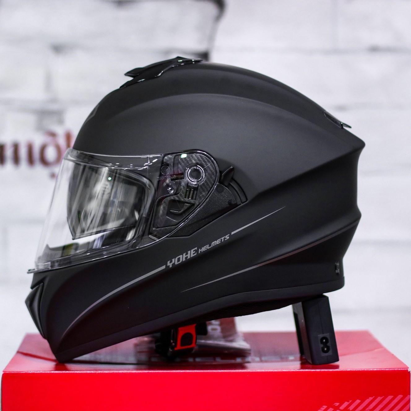Mũ bảo hiểm Yohe 981 đen nhám 2 kính