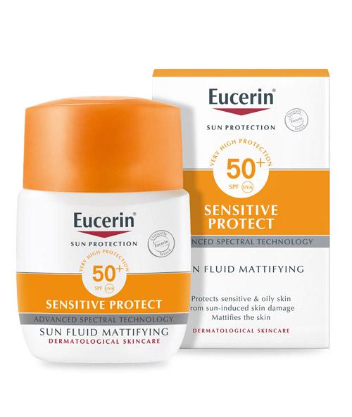 Combo Kem Chống Nắng Eucerin Sun Mattifying Fluid 50+ 50ml Và Bọt tẩy trang Eucerin DermatoCLEAN [HYALURON] Micellar Foam 150ml
