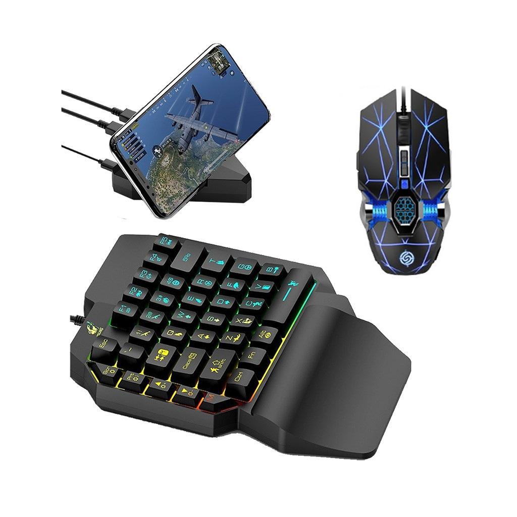HOANGNHAN Bàn phím giả cơ K15 và Bộ Chuyển Đổi G5 Tặng Chuột chuyên game Q7 và bàn di chuột chơi game Pubg Mobile, Rules of Survival, Free Fire trên điện thoại, máy tính bảng, Laptop và PC