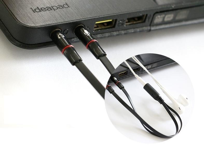 Cáp gộp tai nghe và mic ra jack 3,5mm âm