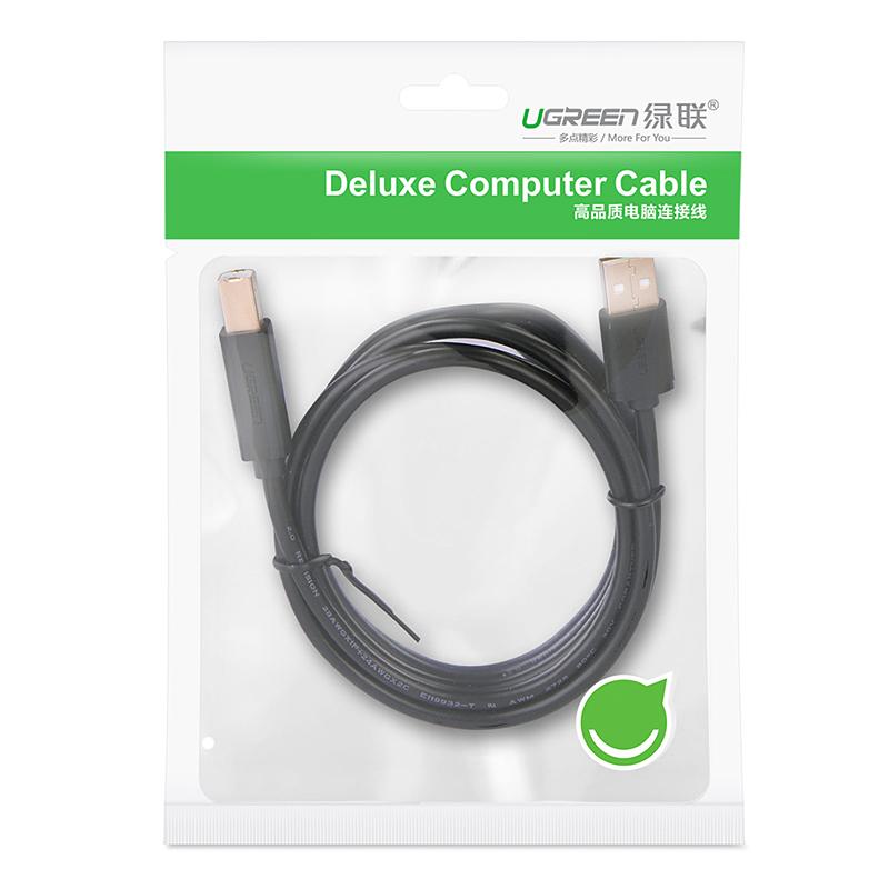 Dây máy in mạ vàng USB 2.0 chuẩn A đực sang chuẩn B đực dài 1.5M UGREEN US135 10350 (đen) - Hàng nhập khẩu