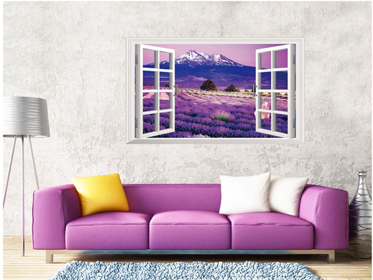 Decal dán tường phong cảnh cửa sổ hoa oải hương tím