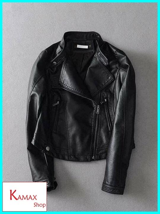 Áo khoác da nữ hàng cao cấp màu đen trắng KM2803