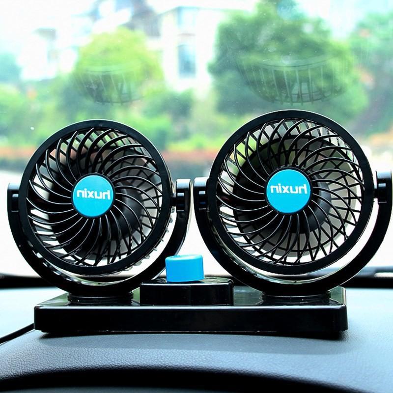 Quạt Đôi Mini 360 Độ Để Trong Ô Tô, Để Bàn Làm Việc