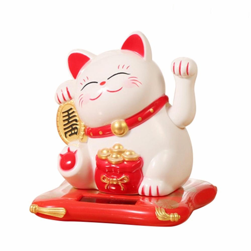 Mèo Thần Tài Vẫy Tay Tự Động Năng Lượng Mặt Trời (Giao Màu Ngẫu Nhiên)