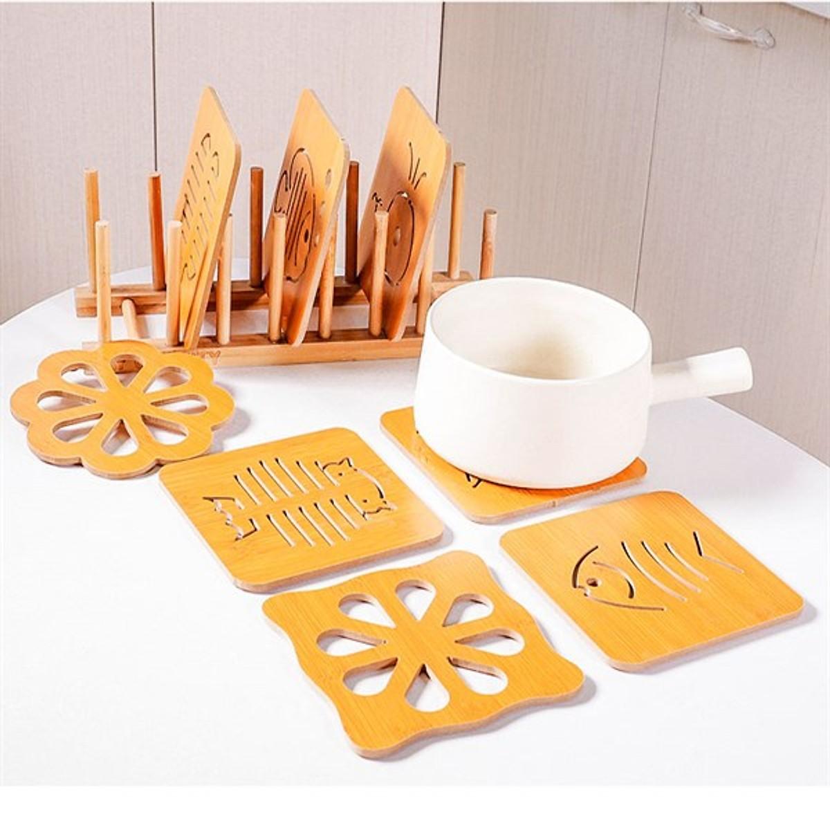 Combo 6 đế lót nồi bằng gỗ chịu nhiệt hình thú (giao mẫu ngẫu nhiên)