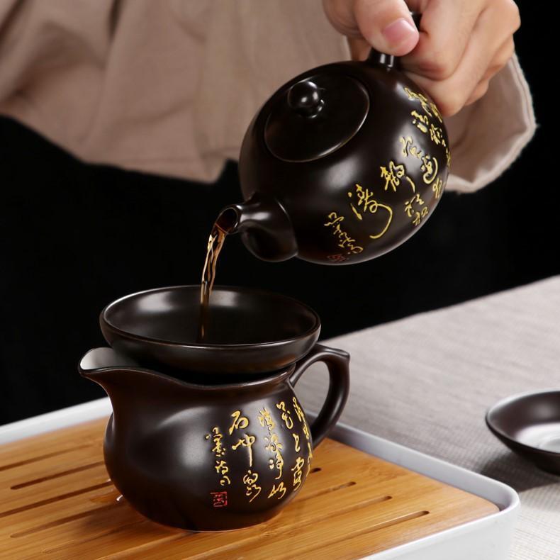 Bàn trà điện thông minh Song Long Hý Thủy - Ấm chén nâu