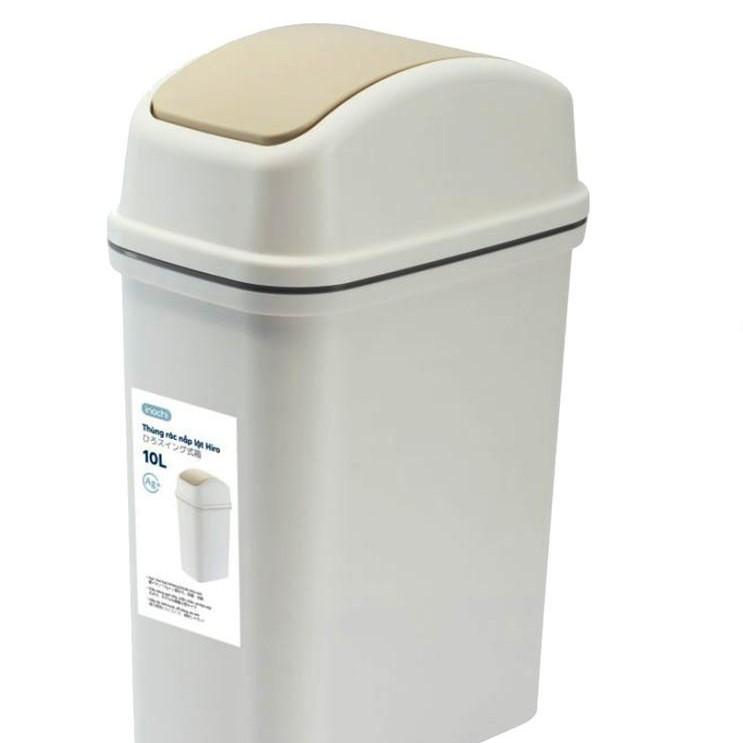 Thùng Rác Thông Minh,Nhựa Nắp Lật Inochi 10 Lít Rất Đẹp Làm Sọt Rác Văn Phòng, Khách Sạn Gia Đình THRNL10L