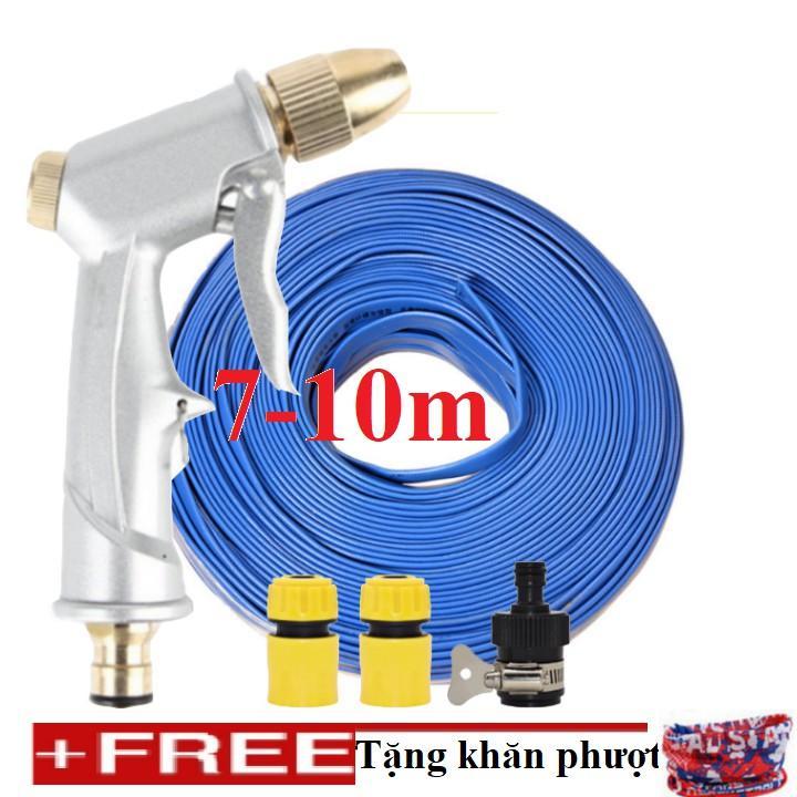 Bộ dây vòi xịt nước rửa xe, tưới cây đa năng, tăng áp 3 lần, 206701 đầu đồng, cút, + tặng khăn phượt