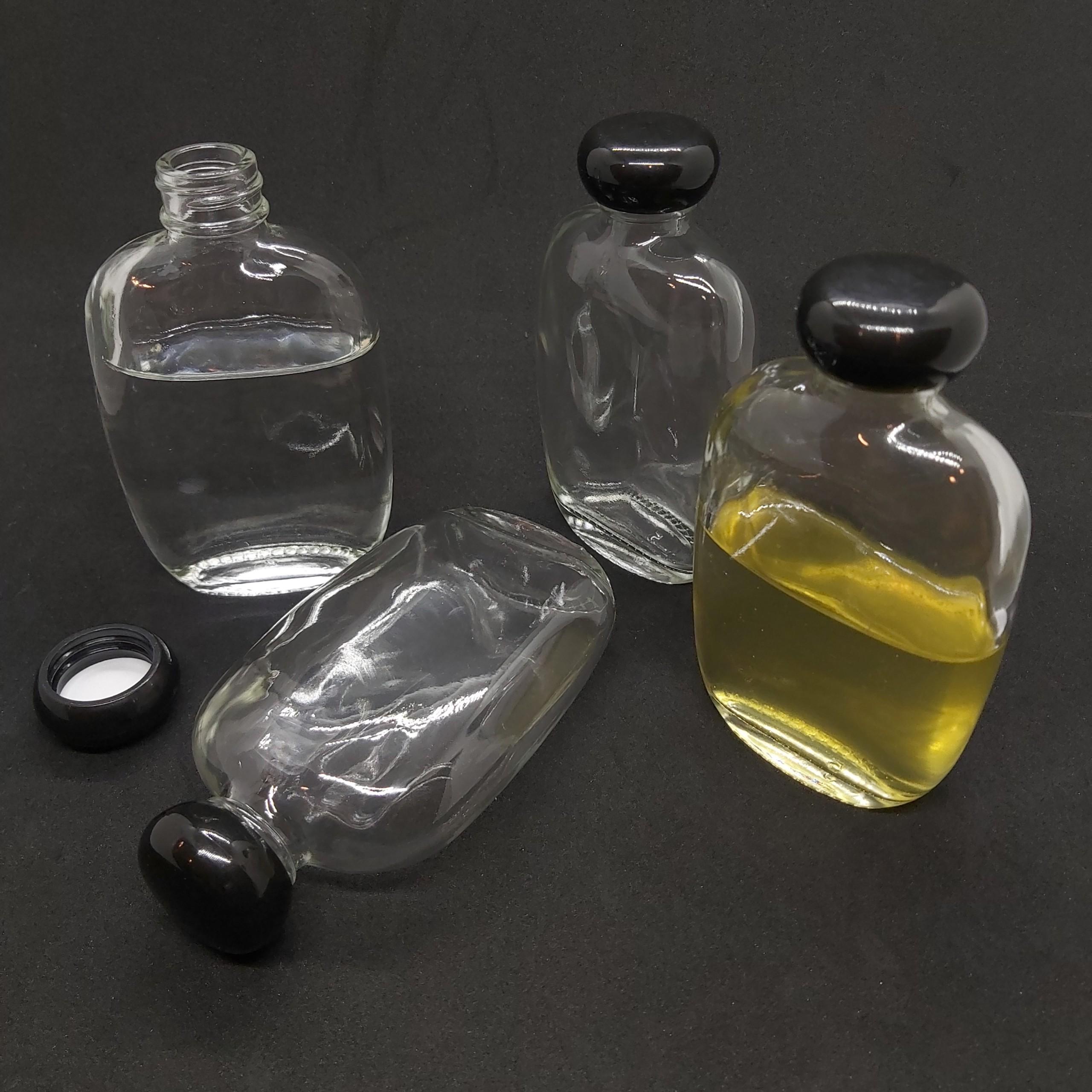 Combo 2 Chai thủy tinh 100ML BẦU DỤC - DẸT nắp nhựa đen tròn - Vỏ Chai 100ML, bình thủy tinh trong suốt