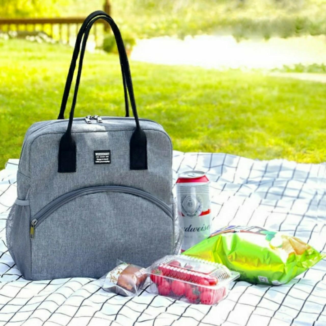 Túi đựng cơm giữ nhiệt Weekeight cao cấp, túi đựng thức ăn Picnic CỠ LỚN có lớp giấy bạc giữ nhiêt (size 27x16x27 cm)